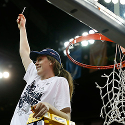 Apr 9, 2013; New Orleans, LA, USA; Connecticut Huskies forward Breanna Stewart (30) celebrates after cutting the net after the championship game in the 2013 NCAA womens Final Four against the Louisville Cardinals at the New Orleans Arena. Connecticut defeated Louisville 93-60. Mandatory Credit: Derick E. Hingle-USA TODAY Sports