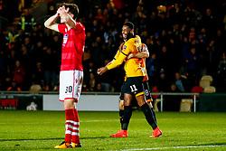 Jamille Matt of Newport County celebrates an own goal from Wrexham - Mandatory by-line: Ryan Hiscott/JMP - 11/12/2018 - FOOTBALL - Rodney Parade - Newport, Wales - Newport County v Wrexham - Emirates FA Cup second round proper