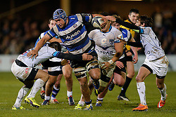 Bath Number 8 Leroy Houston in action as Montpellier Scrum-Half Jonathan Pelissie tackles - Photo mandatory by-line: Rogan Thomson/JMP - 07966 386802 - 12/12/2014 - SPORT - RUGBY UNION - Bath, England - The Recreation Ground - Bath Rugby v Montpellier Herault Rugby - European Rugby Champions Cup Pool 4.