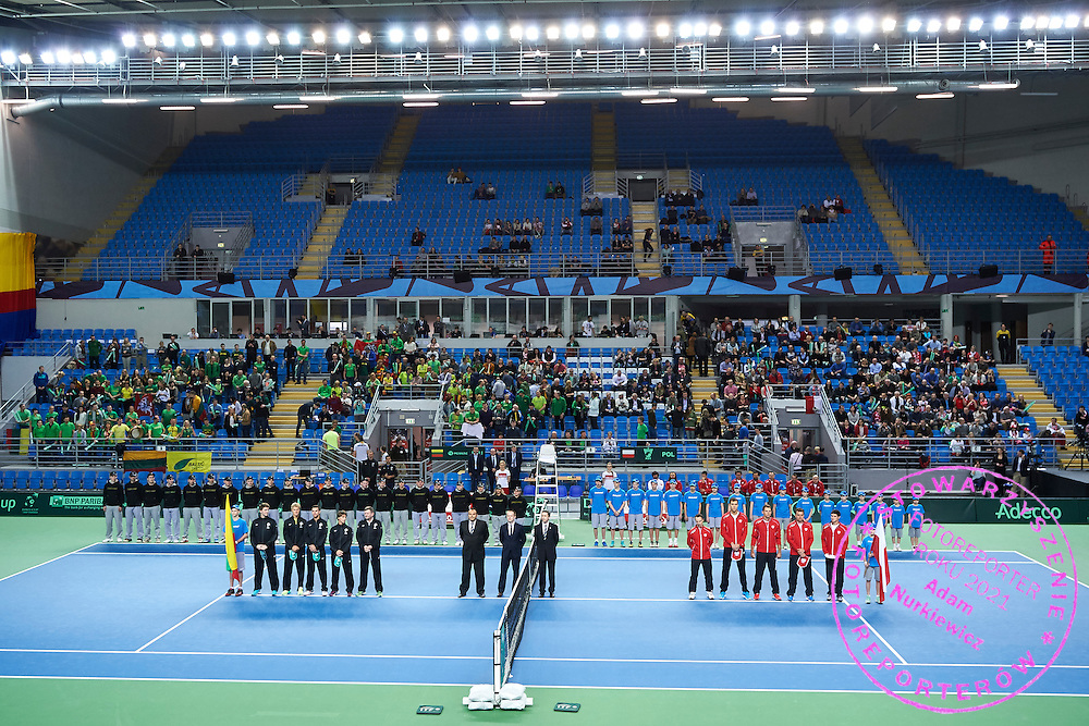 (L-R) Rimvydas Mugevicius captain national team of Lithuania and Ricardas Berankis and Laurynas Grigelis and Lukas Mugevicius and Mantas Bugailiskis all from Lithuania and umpire Ahmed Abdel Azim and umpire Kamil Ancygier and umpire and ITF supervisor Valery Lutkov from Russia and Radoslaw Szymanik - captain national team and Jerzy Janowicz and Lukasz Kubot andMarcin Matkowski and Kamil Majchrzak all from Poland during first day the Davies Cup / Group I Europe / Africa 1st round tennis match between Poland and Lithuania at Orlen Arena on March 6, 2015 in Plock, Poland<br /> Poland, Plock, March 6, 2015<br /> <br /> Picture also available in RAW (NEF) or TIFF format on special request.<br /> <br /> For editorial use only. Any commercial or promotional use requires permission.<br /> <br /> Mandatory credit:<br /> Photo by &copy; Adam Nurkiewicz / Mediasport