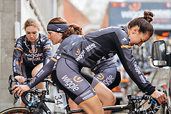 Back to back they faced each other... Wiggle Hi5 warm up in Ieper - Women's Gent Wevelgem 2016, a 115km UCI Women's WorldTour road race from Ieper to Wevelgem, on March 27th, 2016 in Flanders, Belgium.