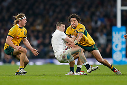 England Winger Jonny May is tackled by Australia Inside Centre Matt Toomua - Photo mandatory by-line: Rogan Thomson/JMP - 07966 386802 - 29/11/2014 - SPORT - RUGBY UNION - London, England - Twickenham Stadium - England v Australia - QBE Autumn Internationals.