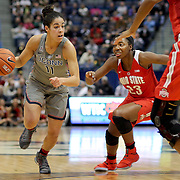 HARTFORD, CONNECTICUT- DECEMBER 19: Kia Nurse #11 of the Connecticut Huskies drives past Kiara Lewis #23 of the Ohio State Buckeyes during the UConn Huskies Vs Ohio State Buckeyes, NCAA Women's Basketball game on December 19th, 2016 at the XL Center, Hartford, Connecticut (Photo by Tim Clayton/Corbis via Getty Images)