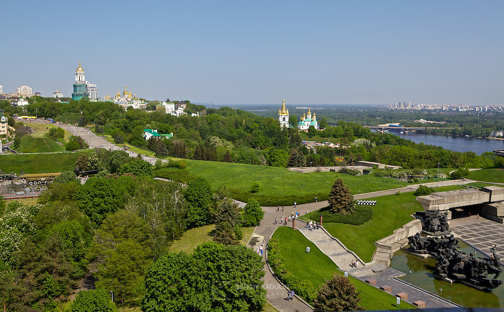 Panorama of the Second World War museum and Kyiv-Pecherska Lavra, as seen from the basement of the monument to Motherland. You can also see Dnipro river and left bank with Kyiv's new districts.