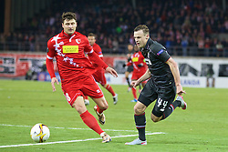 LIVERPOOL, ENGLAND - Thursday, December 10, 2015: Liverpool's Brad Smith in action against FC Sion during the UEFA Europa League Group Stage Group B match at Stade de Tourbillon. (Pic by David Rawcliffe/Propaganda)