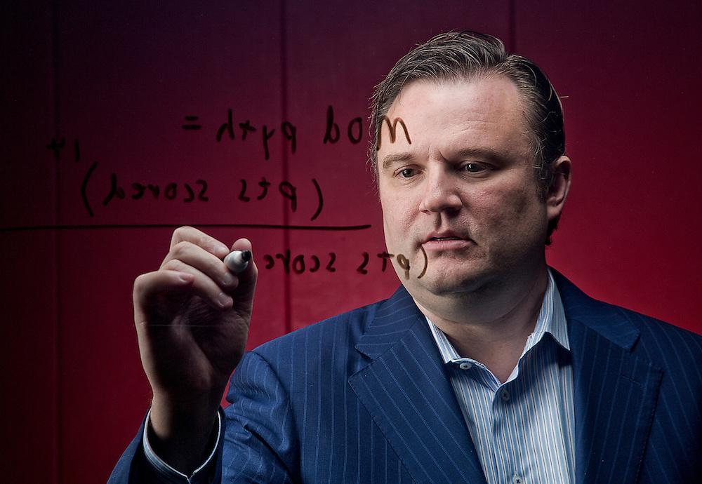 "Houston Rockets GM ;Daryl Morey jots down his basketball modified Pythagorean theorem at the Toyota Center. ""Basketball is a brilliant mix of art and science and always will be"" -Daryl Morey"