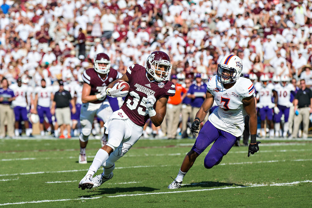 STARKVILLE, MS - SEPTEMBER 19:  Gabe Myles #35 of the Mississippi State Bulldogs rushes for a touchdown against the Northwestern State Demons at Davis Wade Stadium on September 19, 2015 in Starkville, Mississippi.  The Bulldogs defeated the Demons 62-13.  (Photo by Wesley Hitt/Getty Images) *** Local Caption *** Gabe Myles