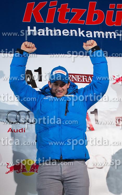 26.01.2013, Streif, Kitzbuehel, AUT, FIS Weltcup Ski Alpin, Abfahrt, Herren, Siegerehrung, im Bild Dominik Paris (ITA, 1. Platz) // 1st place Dominik Paris of Italy celebrate on Podium during mens Downhill-Winner ceremony of the FIS Ski Alpine World Cup at the Streif course, Kitzbuehel, Austria on 2013/01/26. EXPA Pictures © 2013, PhotoCredit: EXPA/ Johann Groder