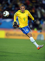 Luis Fabiano<br /> Brazil World Cup 2010<br /> Brazil V Korea DPR (2-1) 15/06/10 Group G at the Ellis Park Stadium<br /> FIFA World Cup 2010<br /> Photo Robin Parker Fotosports International