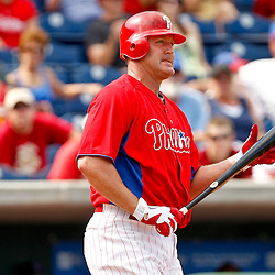 February 29, 2012; Clearwater, FL, USA; Philadelphia Phillies first baseman Jim Thome (25) reacts after striking out during a spring training exhibition game against Florida State University at Bright House Networks Field. The Phillies defeated Florida State 6-1. Mandatory Credit: Derick E. Hingle-US PRESSWIRE