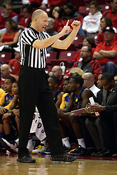 16 November 2015: James Durham signals a number to the scorer. Illinois State Redbirds host the Morehead State Eagles at Redbird Arena in Normal Illinois (Photo by Alan Look)