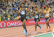 Yomif Kejelcha (ETH), Selemon Barega (ETH) and Hagos Gebrhiwet (ETH) run in the 5,000m in the 43nd Memorial Van Damme in an IAAF Diamond League meet at King Baudouin Stadium in Brussels, Belgium on Friday,August 31, 2018. Barega won in a world junior record 12:43.02 for the fastest time since July 1, 2005.(Jiro Mochizuki/IOS via AP)