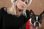Young woman with French Bulldog portrait close-up