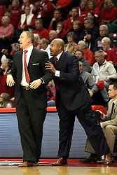 16 November 2014:  Dan Muller is aided by Torrey Ward during an NCAA non-conference game between the Utah State Aggies and the Illinois State Redbirds.  The Aggies win the competition 60-55 at Redbird Arena in Normal Illinois.