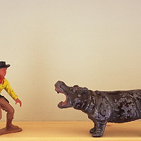 Model cowboy and hippopotamus
