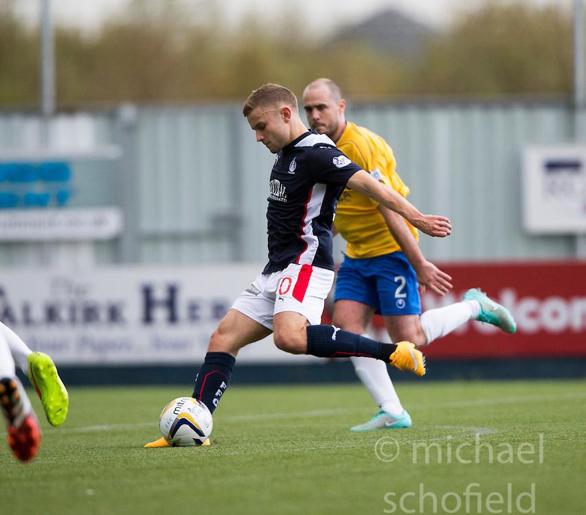 Falkirk's Alex Cooper scoring their third goal.<br /> Half time : Falkirk 4 v 0 Cowdenbeath, Scottish Championship game played at The Falkirk Stadium, 25/10/2014.