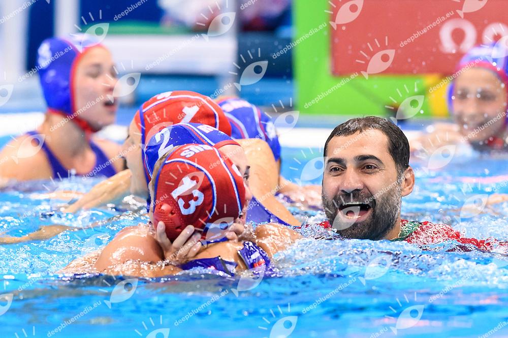Russia coach Aleksandr GAIDUKOV celebrates after winning the bronze medal match <br /> Rio de Janeiro 19-08-2016 Olympic Aquatics Stadium  - Water Polo <br /> HUNGARY HUN - RUSSIA RUS Final 3th 4th place <br /> Foto Andrea Staccioli/Deepbluemedia/Insidefoto