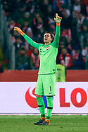 Chorzow, Poland - 2018 March 27: goalkeeper Wojciech Szczesny from Poland shouts while Poland v South Korea International Friendly Soccer match at Stadion Slaski on March 27, 2018 in Chorzow, Poland.<br /> <br /> Mandatory credit:<br /> Photo by © Adam Nurkiewicz / Mediasport<br /> <br /> Adam Nurkiewicz declares that he has no rights to the image of people at the photographs of his authorship.<br /> <br /> Picture also available in RAW (NEF) or TIFF format on special request.<br /> <br /> Any editorial, commercial or promotional use requires written permission from the author of image.