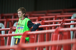 WREXHAM, WALES - Saturday, October 10, 2009: A Wales ballboy watches on from a mass of empty terracing during the UEFA Under-21 Championship Qualifying Round Group 3 match against Bosnia-Herzegovina at the Racecourse Ground. (Pic by Chris Brunskill/Propaganda)