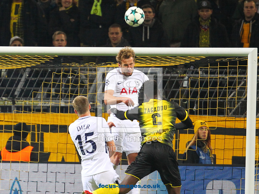 Dan-Axel Zagadou of Borussia Dortmund and Harry Kane of Tottenham Hotspur during the UEFA Champions League match at Signal Iduna Park, Dortmund<br /> Picture by Yannis Halas/Focus Images Ltd +353 8725 82019<br /> 21/11/2017