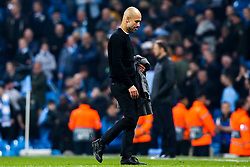 Manchester City manager Pep Guardiola cuts a dejected figure after seeing his team lose to Tottenham Hotspur in the Champions League Quatrter Final - Mandatory by-line: Robbie Stephenson/JMP - 17/04/2019 - FOOTBALL - Etihad Stadium - Manchester, England - Manchester City v Tottenham Hotspur - UEFA Champions League Quarter Final 2nd Leg