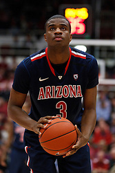 February 3, 2011; Stanford, CA, USA;  Arizona Wildcats guard/forward Kevin Parrom (3) before a free throw against the Stanford Cardinal during the second half at Maples Pavilion.  Arizona defeated Stanford 78-69.