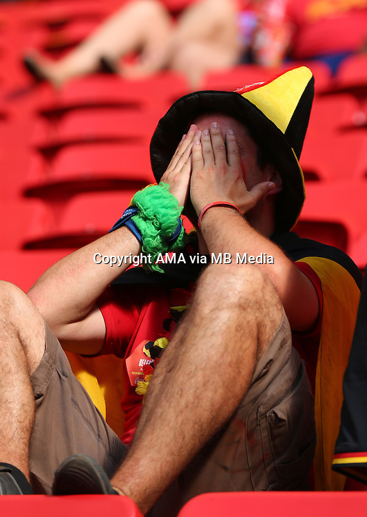 A dejected fan of Belgium at the end of the match in which Belgium got knocked out of the FIFA World Cup