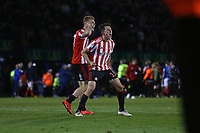 Football - 2018 / 2019 EFL Sky Bet League One - Play-Off Semi-Final,Second Leg: Portsmouth (0) vs. Sunderland (1)<br /> <br /> Luke O'Nien and Max Power of Sunderland celebrate after the final whistle at Fratton Park <br /> <br /> COLORSPORT/SHAUN BOGGUST