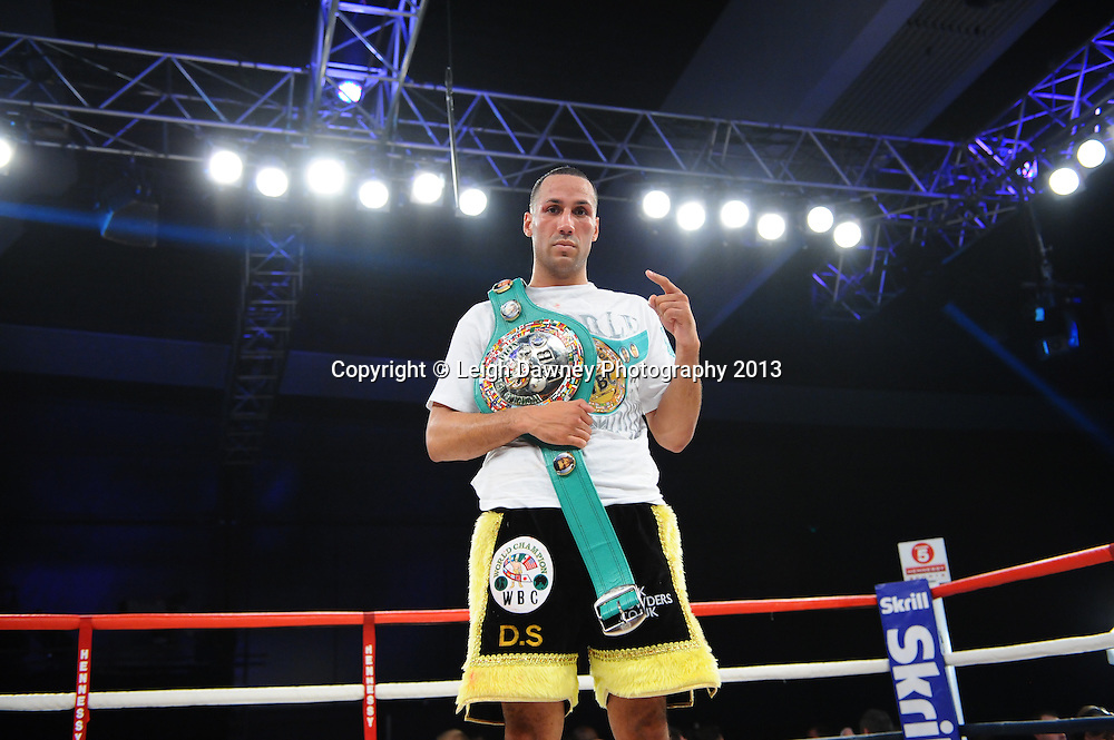 James Degale MBE poses for the press after retaining the WBC Silver Super Middleweight title at Bluewater, Kent, UK against Dyah Davis. 16th November 2013.  Hennessy Sports © Leigh Dawney Photography 2013.