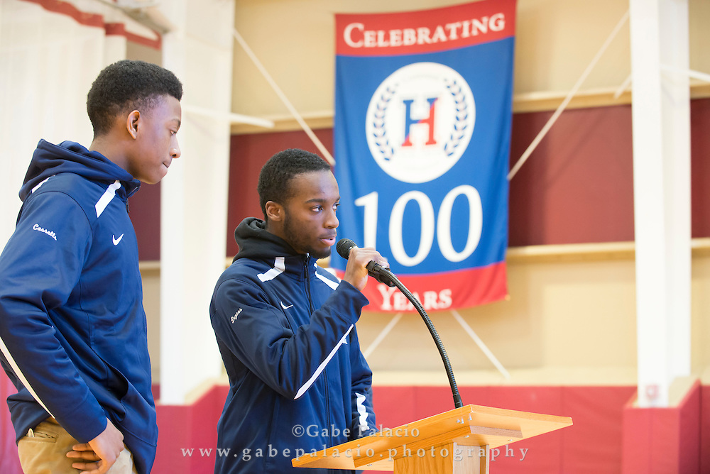 Founders Day celebration during morning meeting at the Harvey School on February 22, 2016. (photo by Gabe Palacio)