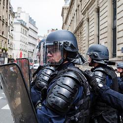 Rassemblement de manifestants &agrave; Paris dans le cadre de la mar&eacute;e humaine pour protester contre la politique d&rsquo;Emmanuel Macron. 30 000 personnes issues de partis politiques, de syndicats ou d'associations diverses ont d&eacute;fil&eacute; de la gare de l'Est &agrave; Bastille en passant par la place de la R&eacute;publique. <br /> 26 mai 2018 / Paris (75) / FRANCE