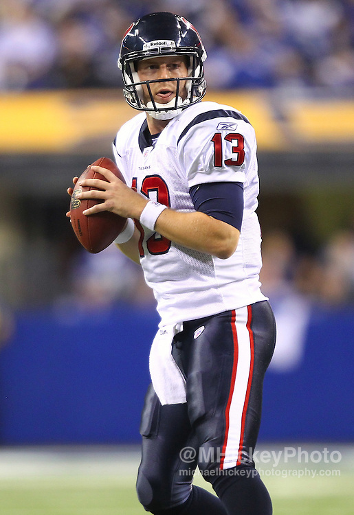 Dec. 22, 2011; Indianapolis, IN, USA; Houston Texans quarterback T.J. Yates (13) looks for an open receiver against the Indianapolis Colts at Lucas Oil Stadium. Indianapolis defeated Houston 19-16. Mandatory credit: Michael Hickey-US PRESSWIRE
