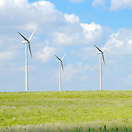 three wind turbines on the Kansas prairie