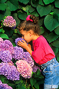 Girl smelling flowers.