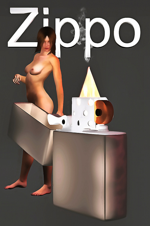 The flame of this Zippo can be interpreted in a couple of different ways. As far as this fine art piece is concerned, you can regard the presence of the flame as something powerful. Perhaps, you could say that the flame is beginning to weaken. It is at the point in which absolutely anything is possible. Now, our attention moves to the naked woman, who seems to have her attention more or less absorbed by the presence of this mysterious lighter. We can't begin to guess what she is thinking, but we can certainly imagine the range of emotions within her.