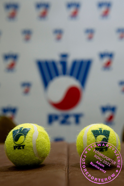 Tennis balls lies on the table during press conference of Polish Tennis Association at Hyatt Hotel in Warsaw, Poland.<br /> <br /> Poland, Warsaw, July 08, 2013<br /> <br /> Picture also available in RAW (NEF) or TIFF format on special request.<br /> <br /> For editorial use only. Any commercial or promotional use requires permission.<br /> <br /> Photo by &copy; Adam Nurkiewicz / Mediasport