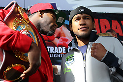 """Feb 23; St. Louis, MO, USA; Adrien Broner (left) and Eloy Perez pose during the final press conference for the February 25, 2012 fight card """"Arch Enemies"""".  Mandatory Credit: Ed Mulholland"""