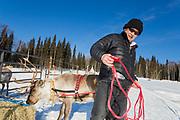Permafrost scientist Kenji Yoshikawa together with his reindeers outside Fairbanks, Alaska.
