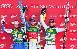 25.11.2012, Lake Louise, CAN, FIS Ski Alpin Weltcup, Lake Louise, SuperG, Herren, im Bild Adrien Theaux of France (L) Aksel Lund Svindal of Norway (C) and Joachim Puchner of Austria during // during Mens SuperG of FIS Ski Alpine World Cup at Lake Louise, Canada on 2012/11/25. EXPA Pictures © 2012, PhotoCredit: EXPA/ ESPA/ John Evely