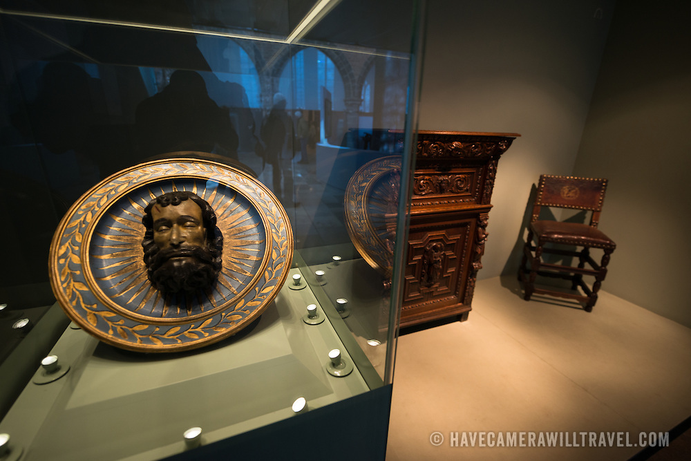 The plate on the right depicts the likeness of Saint John and was made in Flanders in the 16th century. The sideboard in the middle depicts John the Evangelist and Virgin and Child and was made in Bruges in the 17th century. Old St. John's Hospital is one of Europe's oldest surviving hospital buildings that dates to the 11th century. It originally treated sick pilgrims and travelers. A monastery and convent was later added. It is now a museum.