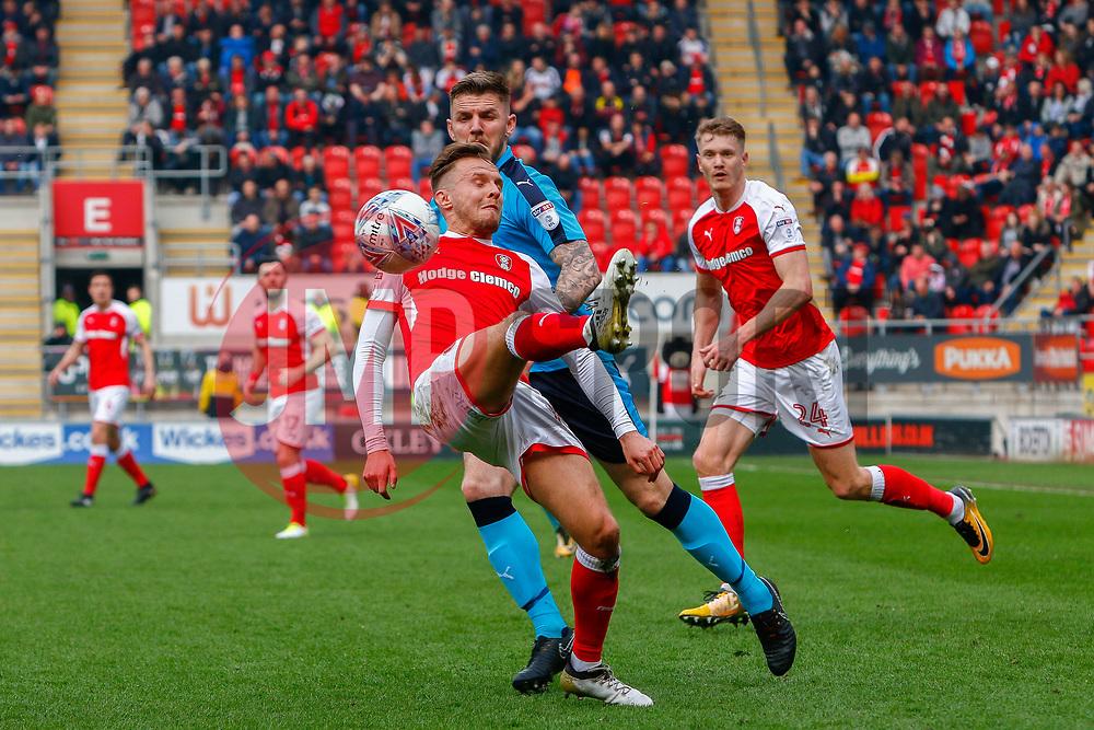 David Ball of Rotherham United attempts an overhead cross - Mandatory by-line: Ryan Crockett/JMP - 07/04/2018 - FOOTBALL - Aesseal New York Stadium - Rotherham, England - Rotherham United v Fleetwood Town - Sky Bet League One