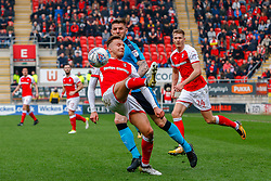 David Ball of Rotherham United attempts an overhead cross - Mandatory by-line: Ryan Crockett/JMP - 07/04/2018 - FOOTBALL - Aesseal New York Stadium - Rotherham, England - Rotherham United v Fleetwood Town - Sky Bet League One