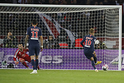 PSG's Neymar scoring the 1-0 penalty shoot during the Ligue 1 Paris St-Germain (PSG) v Olympique Lyonnais football match at the Parc des Princes stadium in Paris, France on October 7, 2018. Paris Saint-Germain moved eight points clear at the top of Ligue 1 as Kylian Mbappe scored four goals in a 5-0 victory over Lyon. Photo by Henri Szwarc/ABACAPRESS.COM