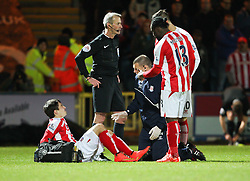 Stoke City's Bojan Krkic is substituted after picking up an injury - Photo mandatory by-line: Matt McNulty/JMP - Mobile: 07966 386802 - 26/01/2015 - SPORT - Football - Rochdale - Spotland Stadium - Rochdale v Stoke City - FA Cup Fourth Round