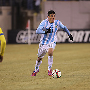 Facundo Roncaglia, Argentina, in action during the Argentina Vs Ecuador International friendly football match at MetLife Stadium, New Jersey. USA. 31st march 2015. Photo Tim Clayton