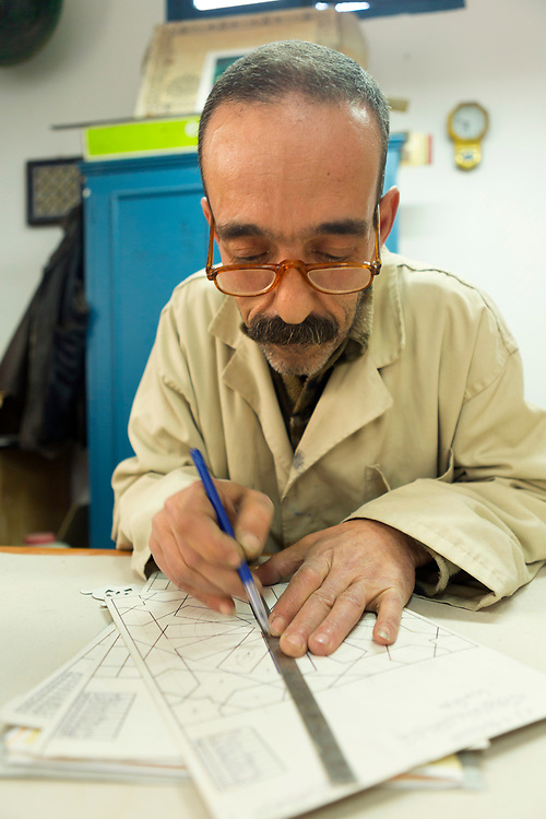TETOUAN, MOROCCO - 7th April 2016 - Portrait of M. Ali Bakouri, Professor of artisanal zellige and Islamic geometry at the Tetouan artisanal school, Tetouan Medina, Rif region of Northern Morocco.