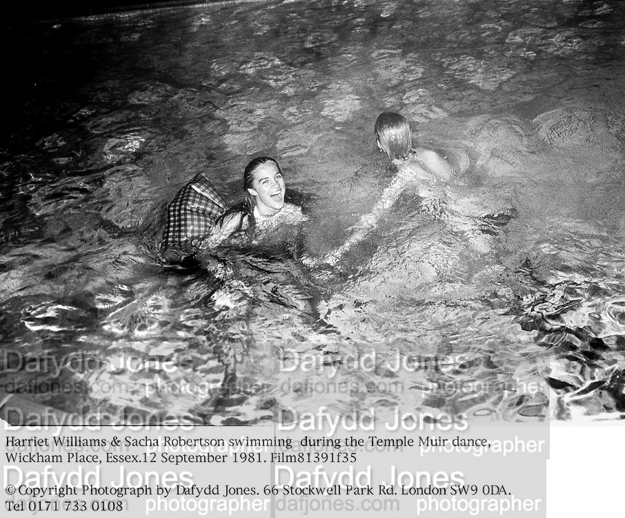 Harriet Williams & Sacha Robertson swimming  during the Temple Muir dance, Wickham Place, Essex. 12 September 1981. Film81391f35<br />© Copyright Photograph by Dafydd Jones. 66 Stockwell Park Rd. London SW9 0DA. Tel 0171 733 0108