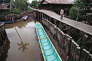 Elevated walkways are the pedestrian roads of Agats, the largest town on the Arafura Sea in the Asmat, a large, steamy hot tidal swamp. Irian Jaya, Indonesia. Travel in this part of the world is by canoe or motorboat. Image from the book project Man Eating Bugs: The Art and Science of Eating Insects.