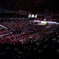 A general view of attendance estimated to be near 15,000 spectators that showed up for the Rally for Economic Survival event held in support of lifting the goverment imposed moratorium on drilling that was held inside the Cajundome in Lafayette, Louisiana, U.S., on Wednesday, July 21, 2010. Photographer: Derick E. Hingle/Bloomberg