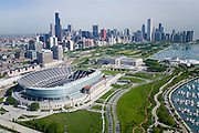 Soldier Field Stadium in Grant Park. Stadium looking towards downtown.
